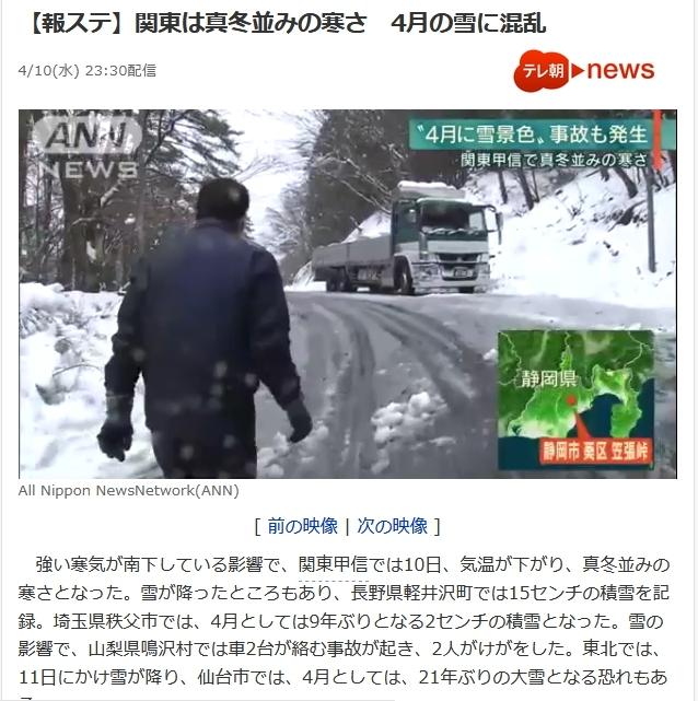 東北関東東海中部積雪