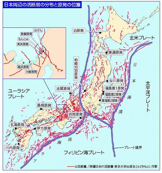 日本と活断層と原発