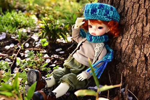 DOLLZONE・Ginoのテオ。花散る野原で森ボーイなお洋服を撮り納め。