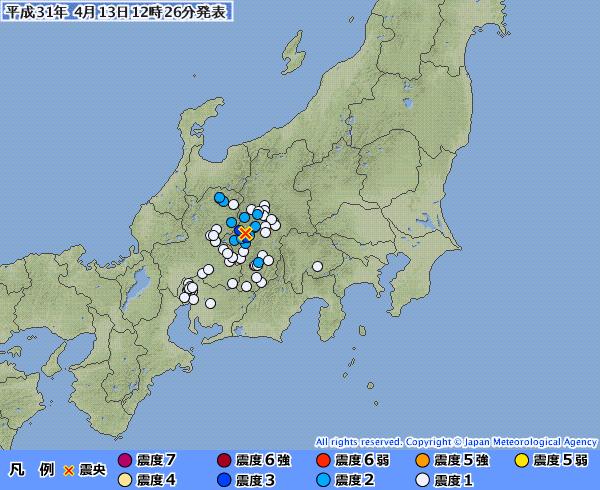 長野県で最大震度3の地震発生 M4.1 震源地は長野県南部 深さ約10km