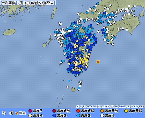 【前兆】宮崎県で最大震度5弱の地震発生…「日向灘」震源で「M6.3」「M5.6」「M4.9」の地震が連発