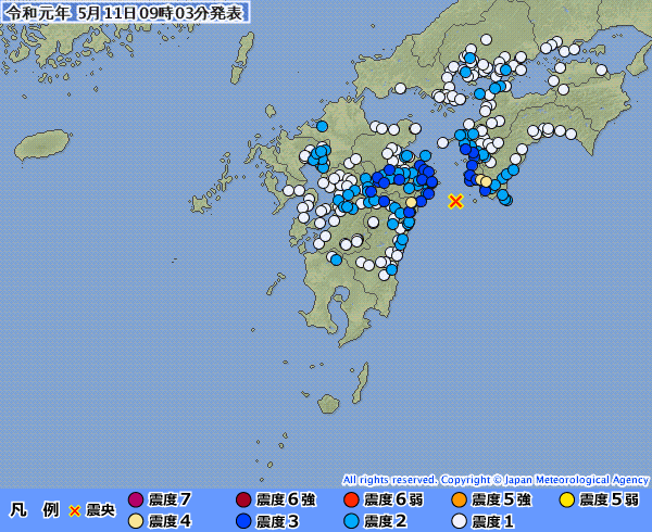 【日向灘】愛媛、高知、宮崎県で最大震度4の地震発生 M4.9 震源地は日向灘 深さ約40km