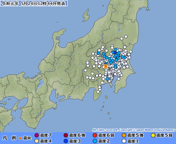 【栃木震度3】関東地方で最大震度3の地震発生 M4.2 震源地は埼玉県北部 深さ約110km
