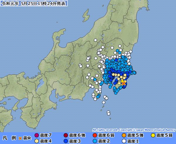 【東京震度4】関東地方で最大震度5弱の地震発生 M5.1 震源地は千葉県南部 深さ約40km