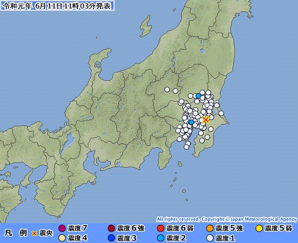 【東京震度2】栃木県で最大震度2の地震発生 M4.2 震源地は千葉県北西部 深さ約60km