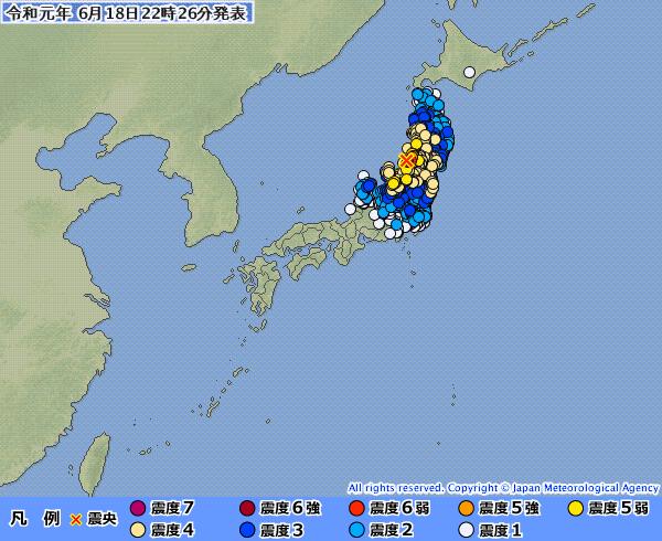 【広範囲】新潟県で最大震度6強、山形県で震度6弱の地震を観測 M6.8 震源地は山形県沖 深さ約10km