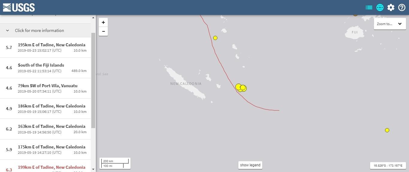【太平洋】ニューカレドニア沿岸でM6.3の地震発生、ここ数日「M5~6クラス」の地震相次ぐ…台湾でも震度5級の地震あり
