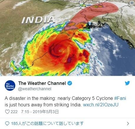 【ファニ】インドに20年ぶり大型サイクロンが上陸…120万人以上に避難命令