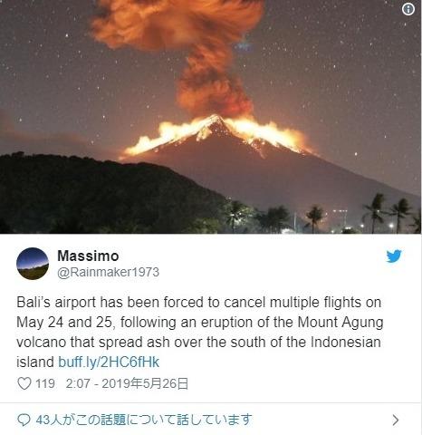 【インドネシア】バリ島にあるアグン山が大噴火…溶岩流が発生