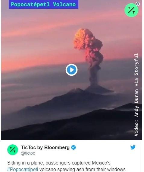 【火山】メキシコのポポカテペトル山で爆発が相次ぎ噴火!噴煙8000メートルを超える