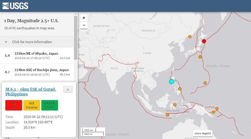 【プレート】フィリピンで「M6.1」の地震発生…深夜に三陸沖でも「M5.4」の地震あり