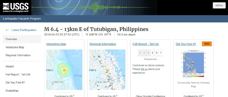 【連動】フィリピン中部で「M6.4」の地震発生…昨日は北部で「M6.1」の地震あり