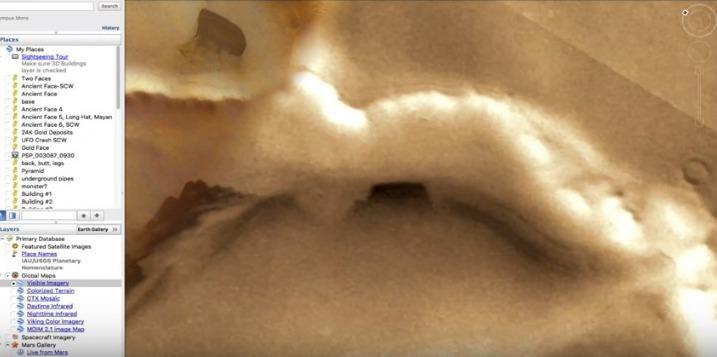 【火星】Google Marsで発見された「不思議な洞窟」…地下基地への入り口らしきものが見つかる!