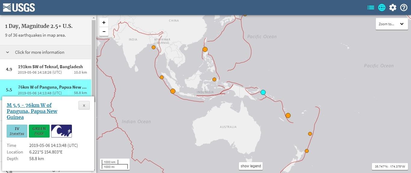 【USGS】パプアニューギニアで「M7.2」と「M5.5」の地震発生