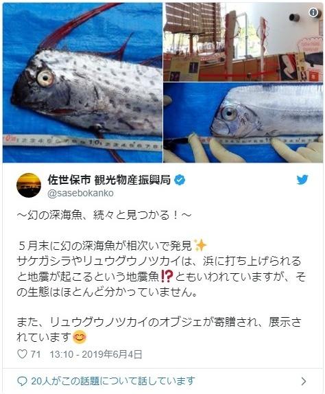 【地震魚】長崎で5月下旬頃から深海魚「サケガシラとリュウグウノツカイ」が相次いで見つかる!