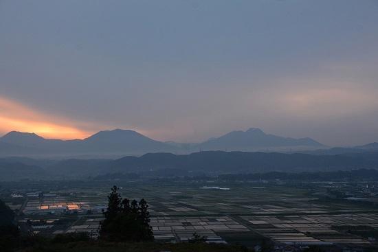 長野電鉄 延徳の田んぼを俯瞰 夕焼け