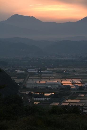 長野電鉄1000系ゆけむりと延徳の田んぼの夕焼け