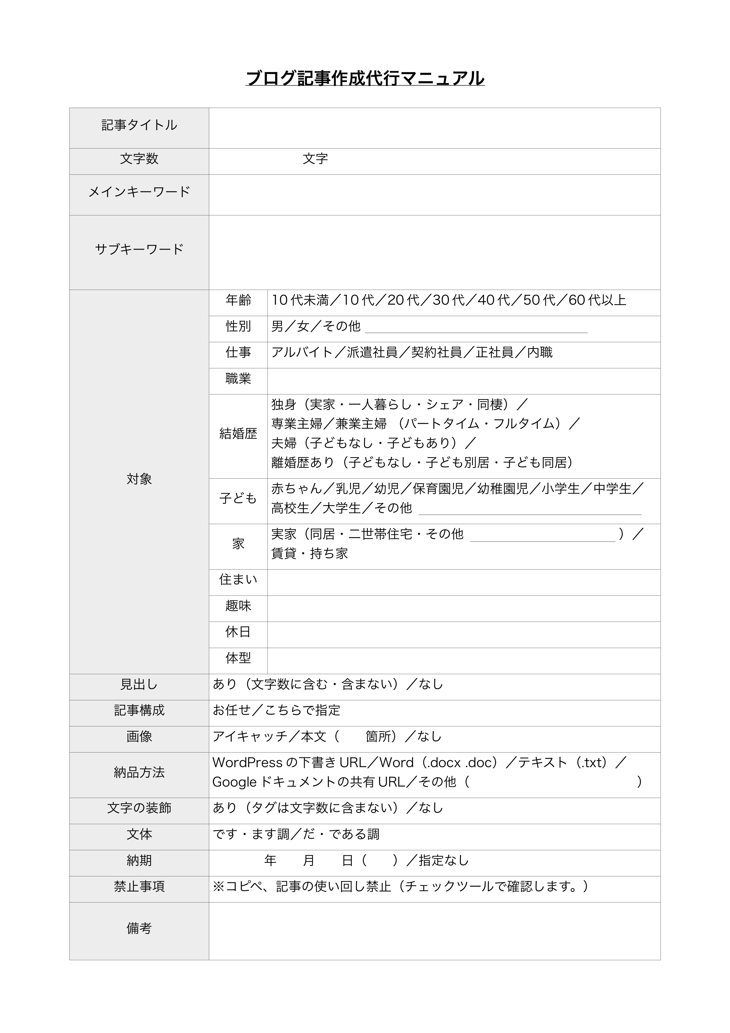 ブログ記事作成代行マニュアル