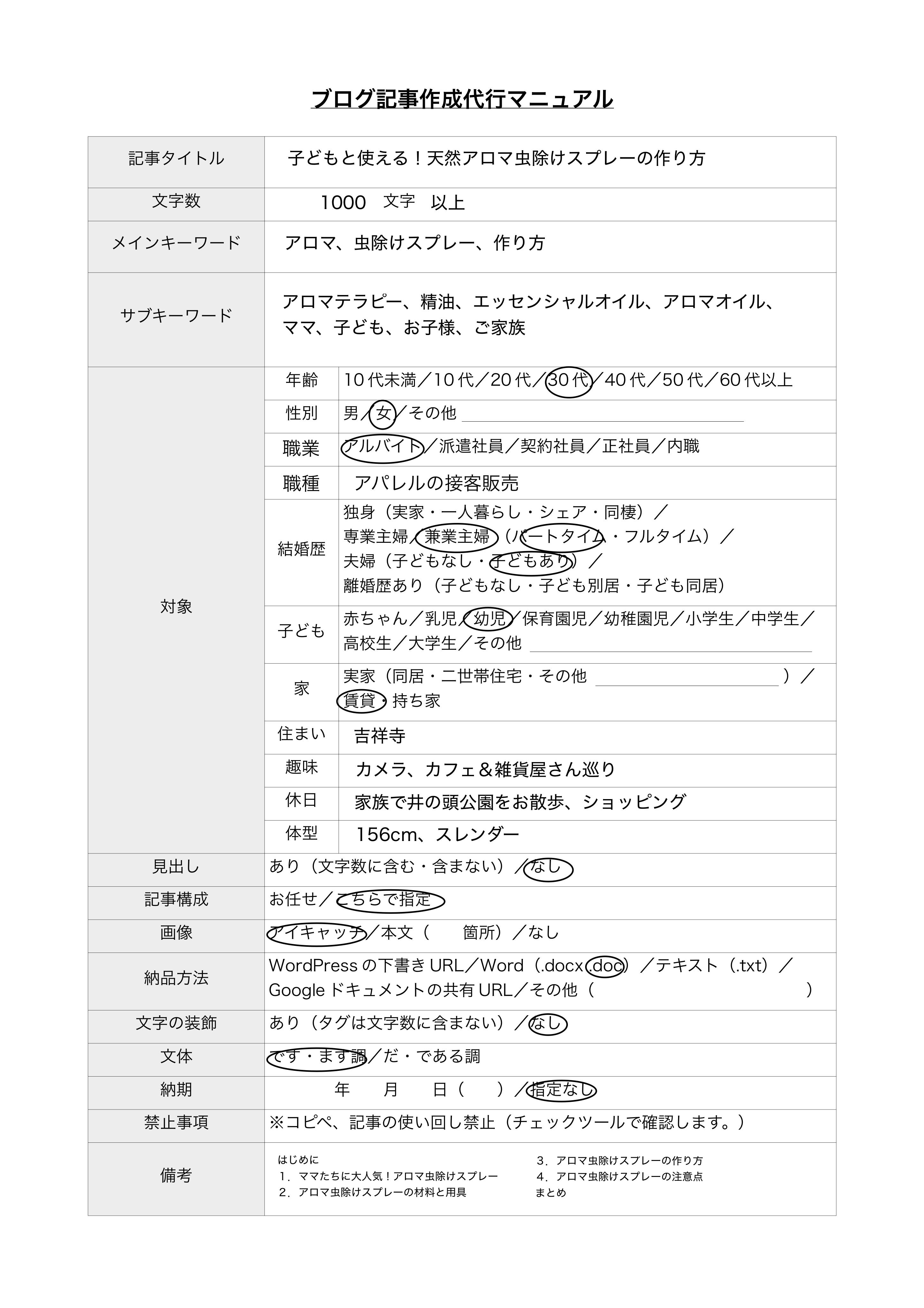 ブログ記事作成代行マニュアル見本