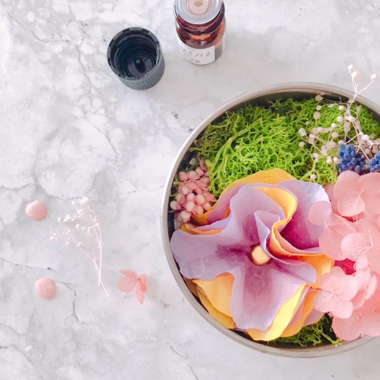 ママズスマイル所沢店託児付きワークショップ「和紙の花が香るアロマディフューザー缶」