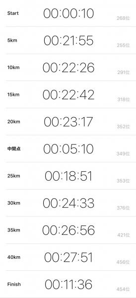 第45回洞爺湖マラソン ラップ