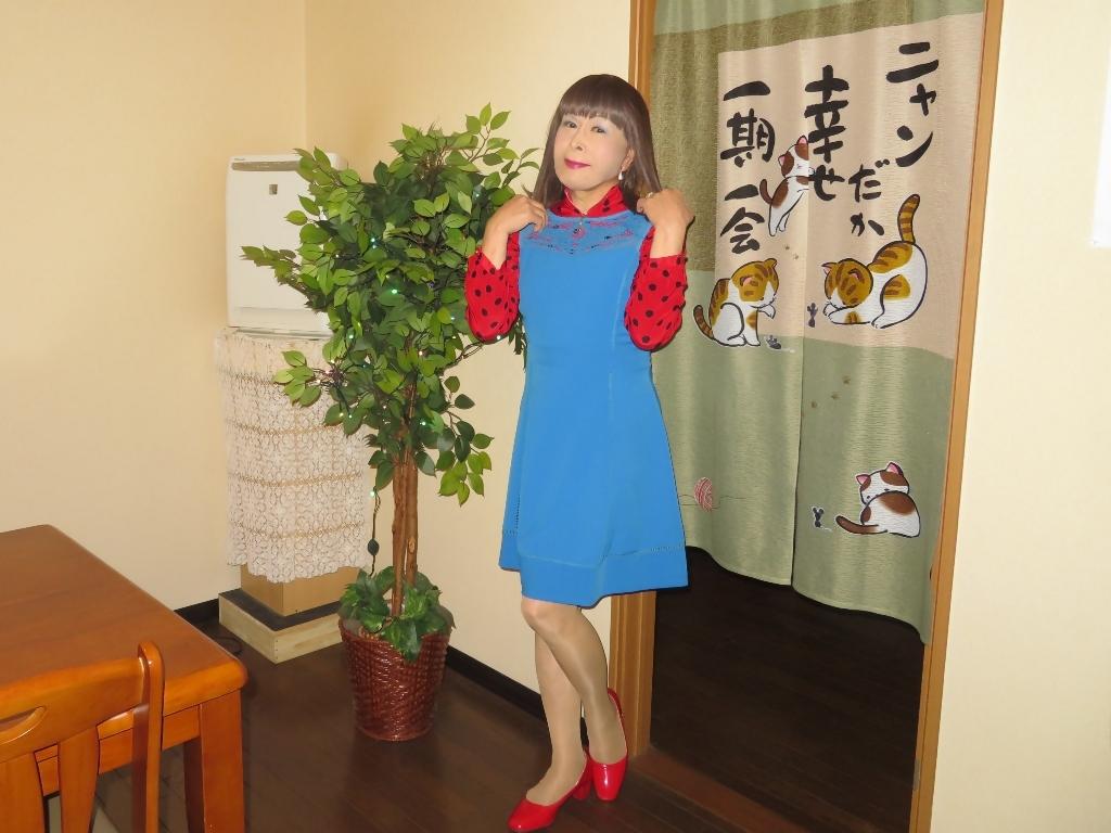 青ワンピ赤ドットブラウスカラオケB(7)