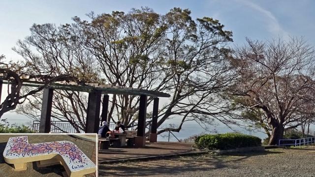6お休み所と花柄のベンチ