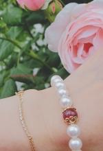 アコヤ真珠とルビーのブレスレット
