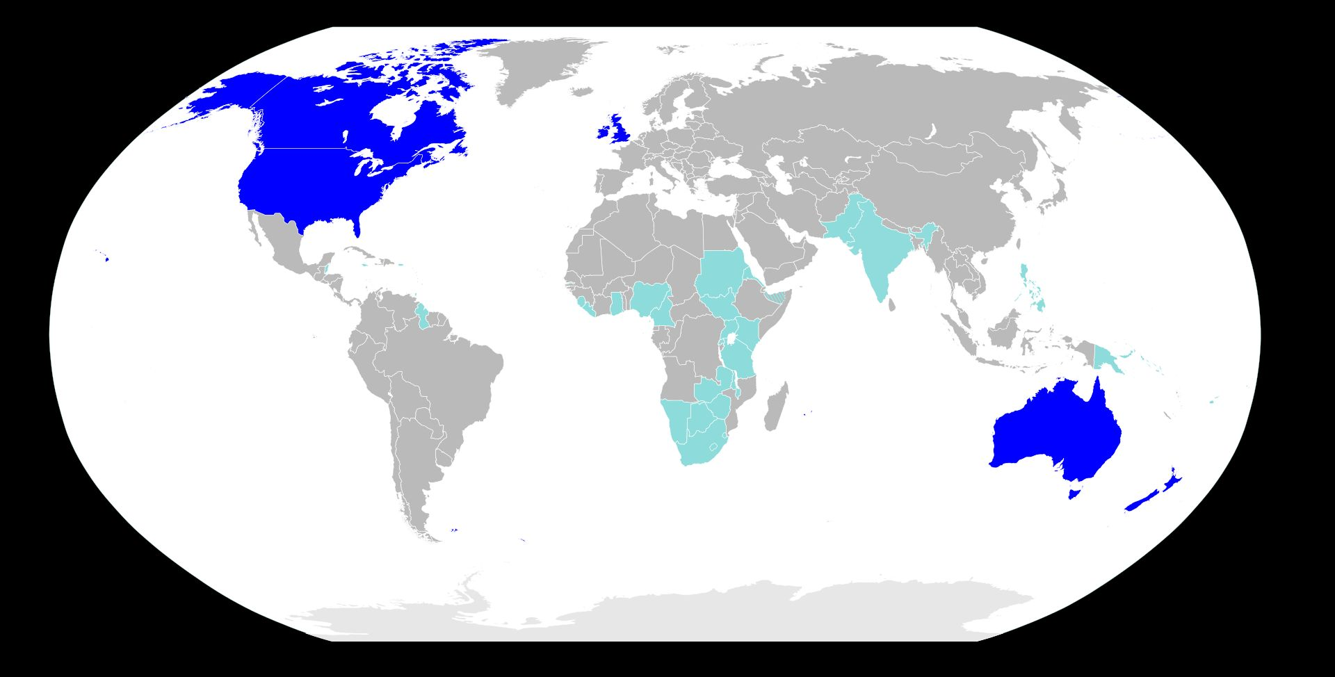 英語が公用語あるいは公用語に近い状態の国