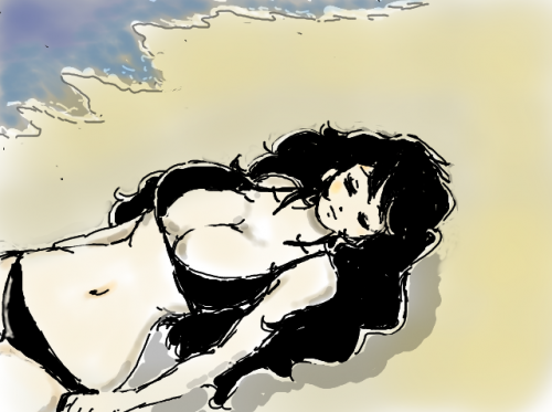 渚の黒髪美女
