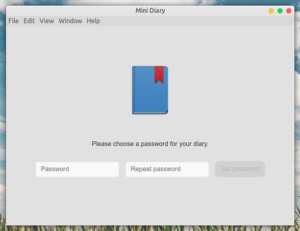 Mini Diary Ubuntu 日記アプリ パスワードの設定
