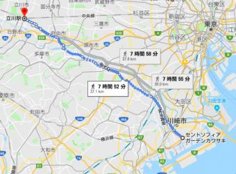 立川から川崎まで徒歩