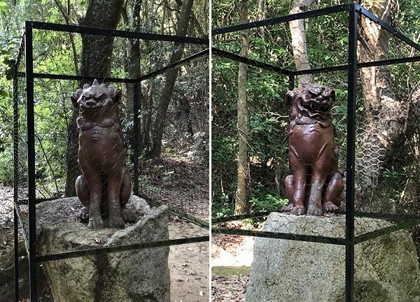 素戔嗚神社に立つ、江戸時代末期の名人級の工人の手による備前焼の狛犬