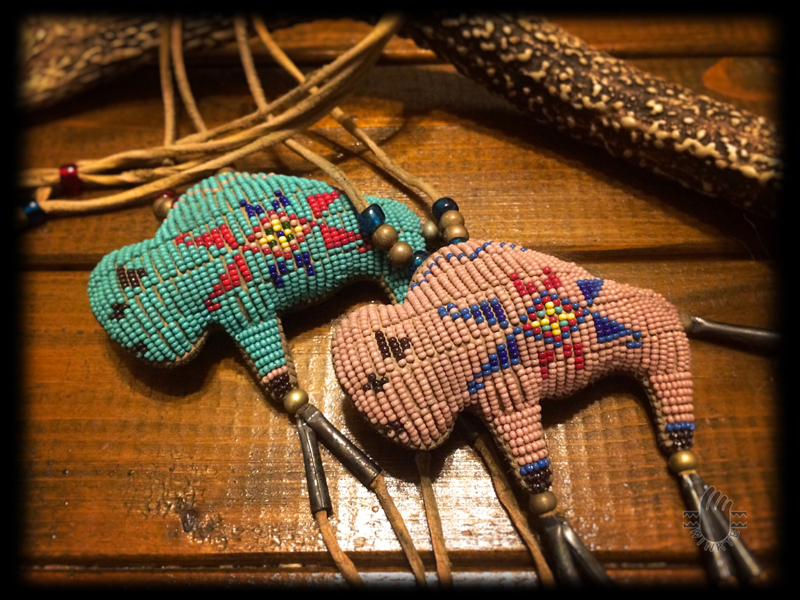 Two Tiny Beaded Buffalo Amulets 4 logo ver