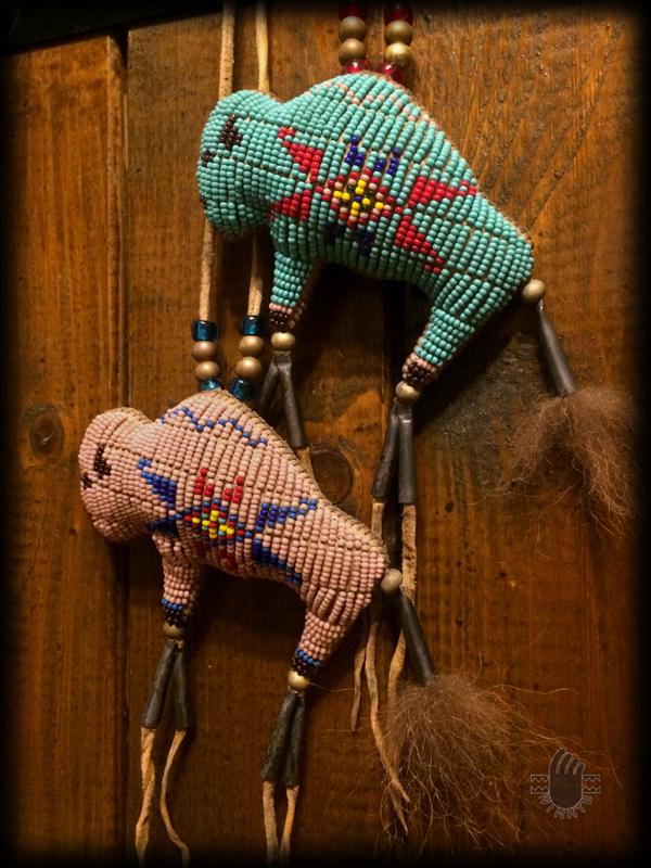 Two Tiny Beaded Buffalo Amulets 3 logo ver