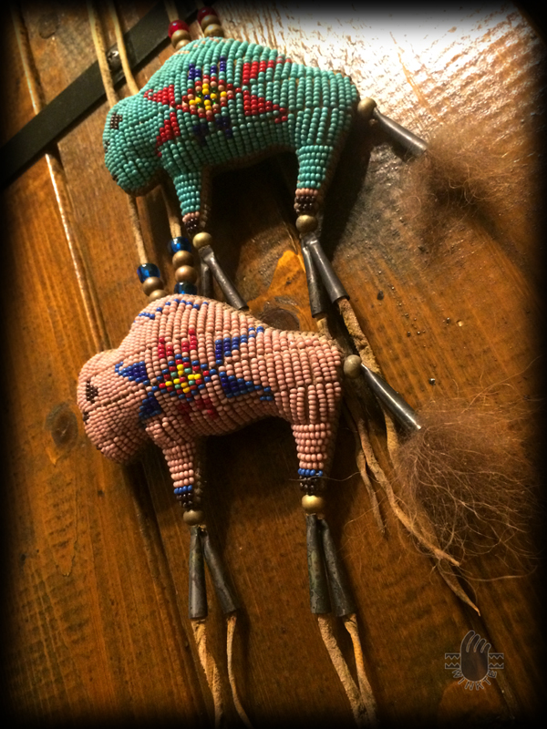 Two Tiny Beaded Buffalo Amulets 5 logo ver