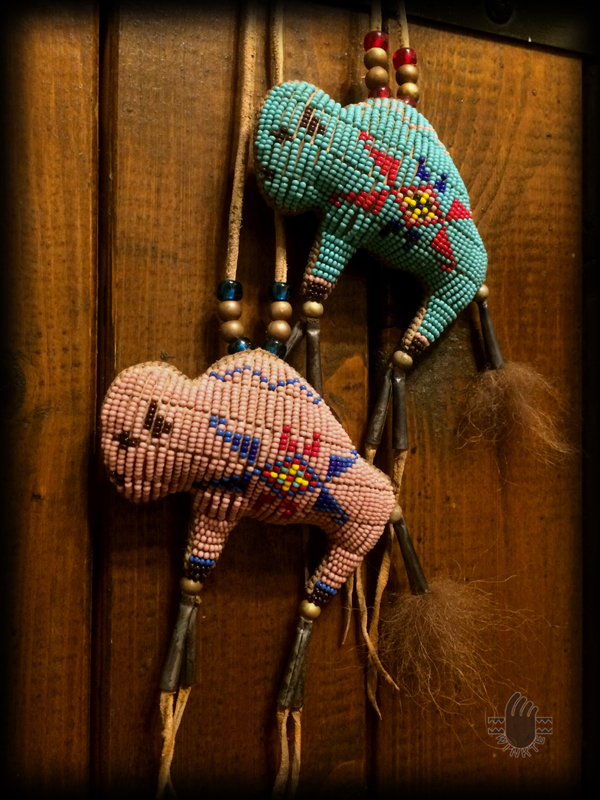Two Tiny Beaded Buffalo Amulets 2 logo ver