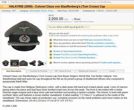 VALKYRIE(2008)_Tom Cruise_visor cap_Auction site