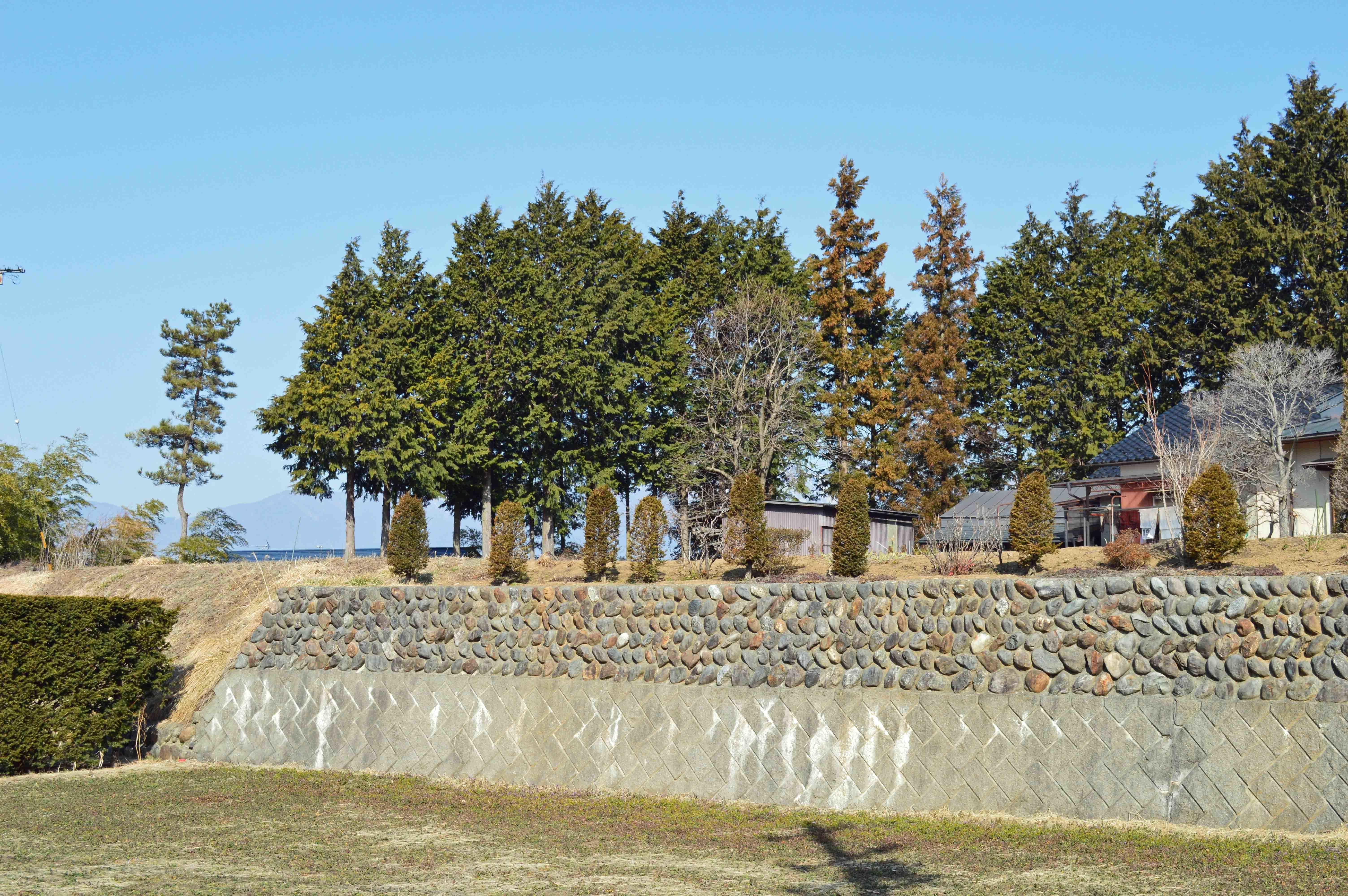 黒河内の城 南側堀跡と奥が土塁跡