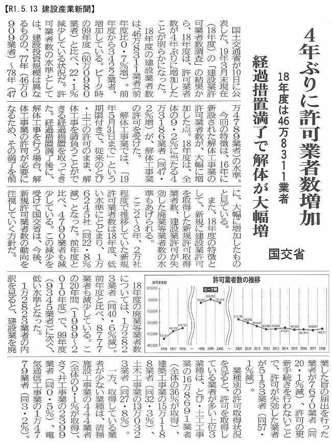 190513 18年度許可業者数微増46万8千社・国交省:建設産業新聞